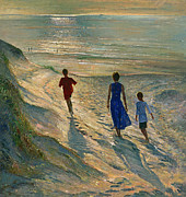 Calm Painting Posters - Beach Walk Poster by Timothy Easton
