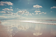 Devon Prints - Beach With Cloud Reflections And Blue Sky Print by Www.zoepower.co.uk
