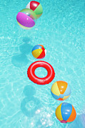 Water Swimming Pool Posters - Beachballs Poster by Alex Bramwell