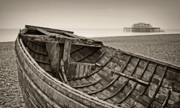 Fog At Sea Prints - Beached at Brighton in Sepia Print by Tony Grider