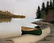 Canoes Paintings - Beached Canoe in Muskoka by Kenneth M  Kirsch