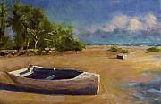 Seascape Pastels Posters - Beached Poster by David Patterson