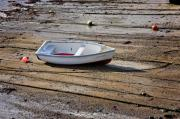 Rowboat Prints - Beached Dinghy at Low Tide Print by Louise Heusinkveld