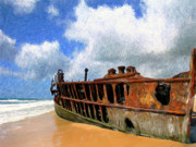 Scow Paintings - Beached by Dominic Piperata