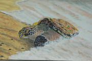 Sea Turtles Painting Prints - Beached for Love Print by KatNap