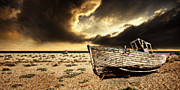 Wooden Boat Posters - Beached In Color Poster by Meirion Matthias