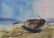 Handmade Paper Paintings - Beached Row Boat by Vinayak Deshmukh