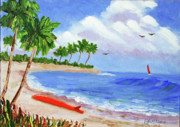 Bloch Prints Paintings - Beached Surfboard by Bob Phillips