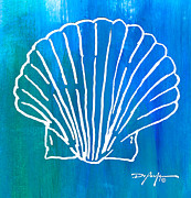 Beach Art Mixed Media Posters - Beachside Shell Poster by William Depaula