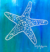 Beach Art Mixed Media Posters - Beachside Starfish Poster by William Depaula