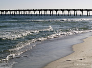 Pensacola Fishing Pier Framed Prints - Beachside View 2 Framed Print by Karen Devonne Douglas