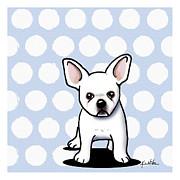 Bulldog Art Posters - Beachy In Blue Bulldog Poster by Kim Niles