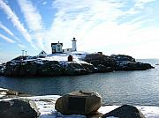 Nubble Lighthouse Originals - Beacon In The Snow by Peter Williams