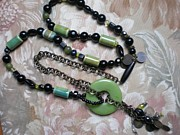 Black Jewelry Prints - Bead and Chain Necklace Print by Beth Sebring