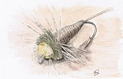 Fly Fishing Mixed Media Prints - Bead Head Fly Print by H C Denney