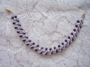 Dark Jewelry - Beaded Bracelet in Pale Violet and Dark Purple by Yvette Pichette