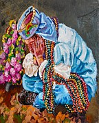Mardi Gras Paintings - Beaded Buzzard Break by Lisa Tygier Diamond