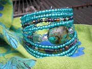 Turquoise Jewelry Prints - Beaded Cuff Print by Beth Sebring