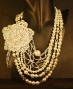 Bridal Jewelry Jewelry - Beaded Flower with  Pearl and Crystal Necklace by Janine Antulov