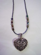 Dark Jewelry - Beaded Necklace With Heart Charm by Yvette Pichette