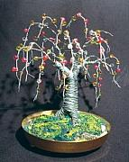 Sal Villano Art - Beaded Oak wire tree sculpture by Sal Villano