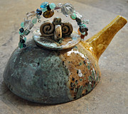 Glass Ceramics Originals - Beaded Swirl Teapot by Amanda  Sanford