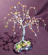 Tr Sculptures - Beaded Willow - Wire Tree Sculpture by Sal Villano