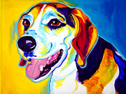 Performance Painting Framed Prints - Beagle - Lou Framed Print by Alicia VanNoy Call