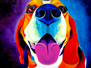 Dawgart Metal Prints - Beagle - Saphira Metal Print by Alicia VanNoy Call