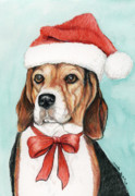 Santa Hat Drawings Prints - Beagle Christmas Print by Charlotte Yealey