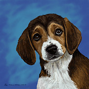 Lovable Digital Art - Beagle Eyes by Melanie Whitaker
