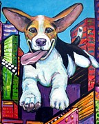 Beagle Paintings - Beagle Flying Through City by Dottie Dracos