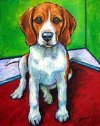 Beagle Paintings - Beagle in Corner by Dottie Dracos