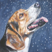 Puppy Christmas Prints - Beagle in snow Print by L AShepard