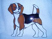 Dog Glass Art Originals - Beagle  by Liz Shepard
