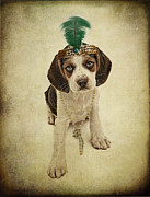 Sequin Metal Prints - Beagle Puppy Flapper  Metal Print by Susan  Schmitz