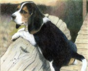 Christmas Dogs Prints - Beagle Puppy Portrait Print by Olde Time  Mercantile
