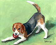 Beagle Paintings - Beagle with Red Ball on Green by Dottie Dracos