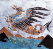 Mythological Tapestries - Textiles Metal Prints - Beaked Dragon Flies Above the Sea Metal Print by Carol  Law Conklin