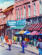 Store Fronts Prints - Beale Street Blues Hall Print by Ron Stephens