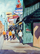 Store Fronts Paintings - Beale Street Visual Overload by Ron Stephens