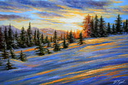 Beams Paintings - Beams of Light Mount Rainier Washington by Roman Roma