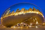 Skyline Photo Metal Prints - Bean Reflections Metal Print by Donald Schwartz