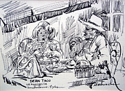 Town Square Drawings Framed Prints - Bean Tacos at La Margarita Framed Print by Bill Joseph  Markowski