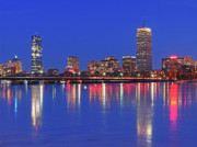 Boston Skyline Posters - Beantown City Lights Poster by Juergen Roth