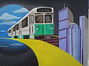 Boston Skyline Paintings - Beantown Transit by Michael Holmes