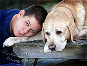 Man�s Best Friend Framed Prints - Bear and His Boy Framed Print by Terry Kirkland Cook