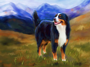 Animals Framed Prints - Bear - Bernese Mountain Dog Framed Print by Michelle Wrighton