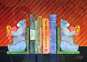 Kids Books Prints - Bear Bookends Print by Arline Wagner