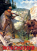 Old West Painting Prints - Bear Charging Man Print by Phillip R Goodwin